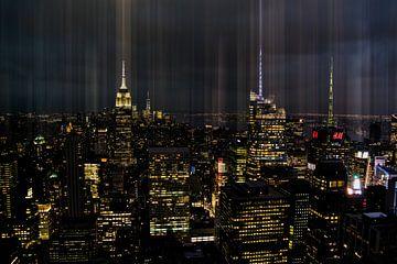 Skyline New York, avond van Nynke Altenburg