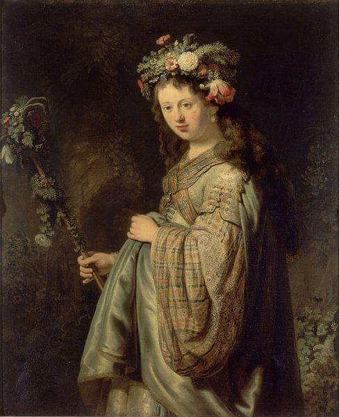 Saskia als Flora - Rembrandt van Rijn von Meesterlijcke Meesters