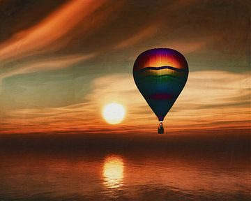 Hete lucht ballonvaart over de zee zonsondergang
