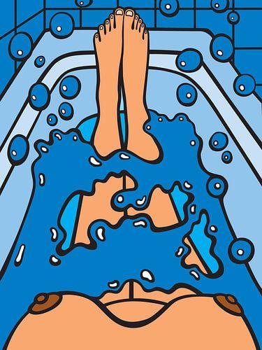 in bad, bathing