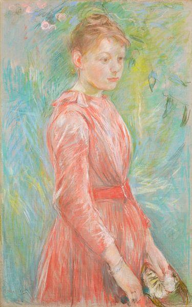 Mädchen im Rosenkleid, Berthe Morisot von Meesterlijcke Meesters