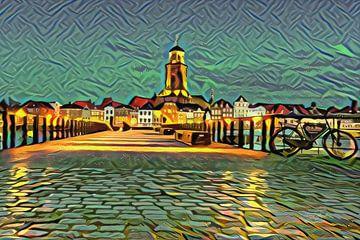 Kunstwerk van Deventer: Skyline vanaf de IJssel in de stijl van Picasso van Slimme Kunst.nl