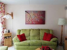Klantfoto: lentebloesem met roodborstje ( schilderij op canvas) van Els Fonteine, op canvas