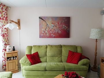 Klantfoto: lentebloesem met roodborstje ( schilderij op canvas) van Els Fonteine