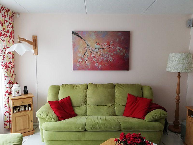 Kundenfoto: Frühlingsblüte mit Rotkelchen (Gemälde auf Leinwand) von Els Fonteine, auf leinwand