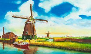 Molens Nederland (Landschap  aquarel)
