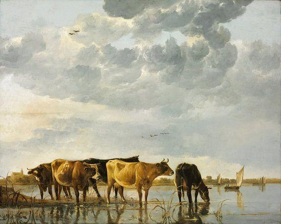 Albert Cuyp. Koeien in een rivier van 1000 Schilderijen