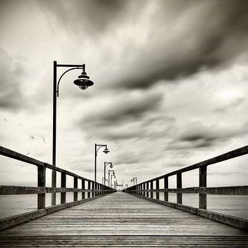 Seebrücke mit Möven sur