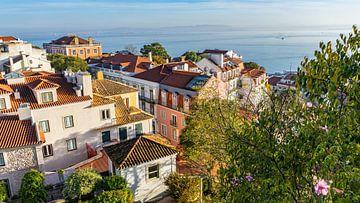 Uitzicht vanaf kasteel in Lissabon, Portugal van Jessica Lokker