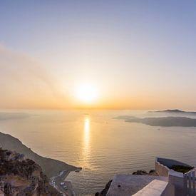 De zonsondergang van Santorini van Rens Bok