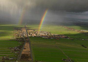 Arc-en-ciel au-dessus de Stolwijk pendant un orage au dessus du Coeur Vert sur Sky Pictures Fotografie