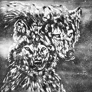 Schwarzer und weißer Winterwolf von Kathleen Artist Fine Art