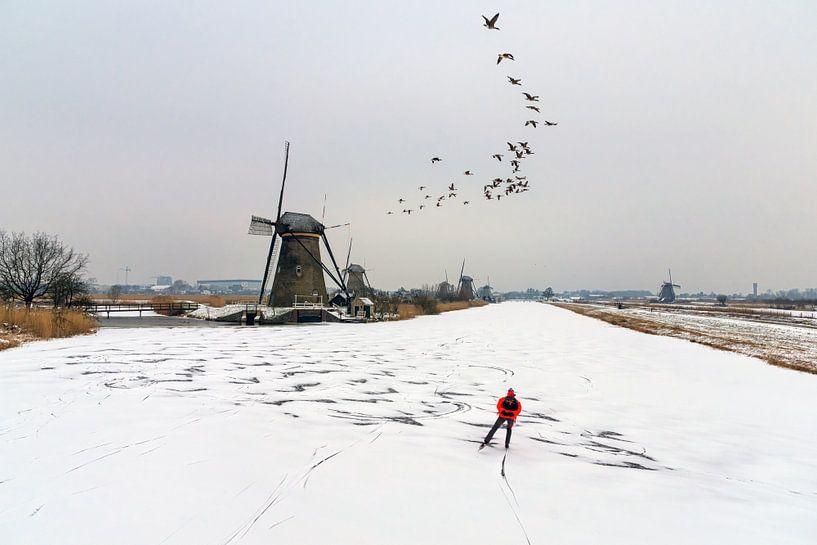 Winter in Kinderdijk van Jan Koppelaar