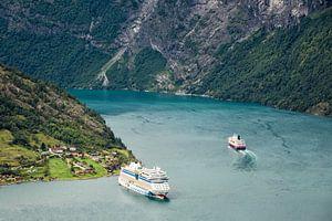 Cruiser ships on the Geirangerfjord