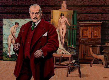 Anders Zorn in Atelier Schilderij