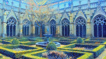 Pandhof de l'église Dom dans le style Van Gogh sur Slimme Kunst.nl