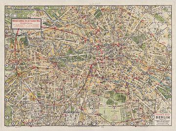 Oude Engelse toeristenkaart van Berlijn,1929 van Atelier Liesjes