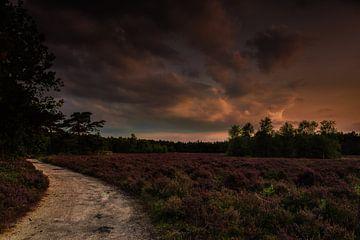 Zonsondergang op Wezepse heide van Jos Reimering