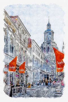 Die Kremerstraat und der Peperbus in Bergen op Zoom (Aquarell) von Art by Jeronimo