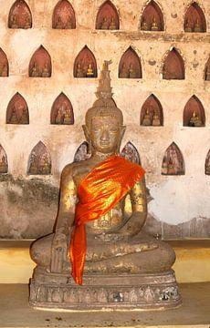 Boeddha's, Wat Sisaket, Laos van Inge Hogenbijl