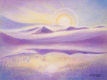De corona van de zon en het waterspel in de bergen van Marita Zacharias