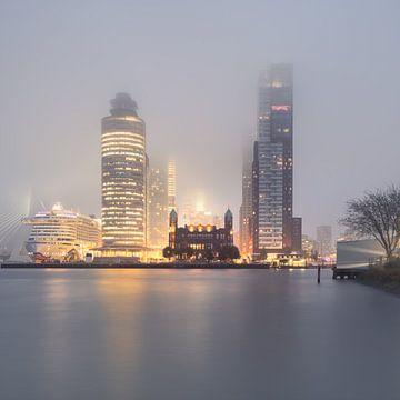 Rotterdam: Kop van Zuid in de mist sur Olaf Kramer