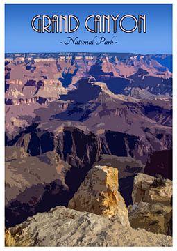 Vintage poster, Grand Canyon National Park, Arizona, Amerika van Discover Dutch Nature
