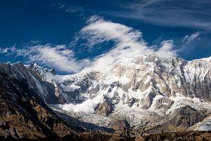 Lawine in de bergen van Nepal