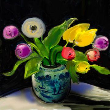 Tulpen in vaas van Raina Versluis