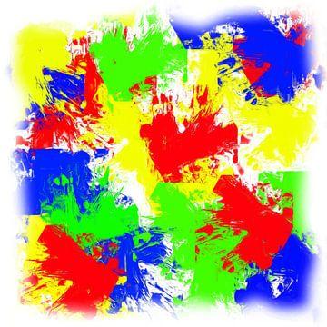 Abstract rood geel groen blauw van Maurice Dawson