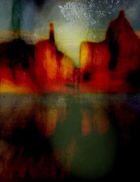 Stadsgezicht aan het water van Marijke van Loon