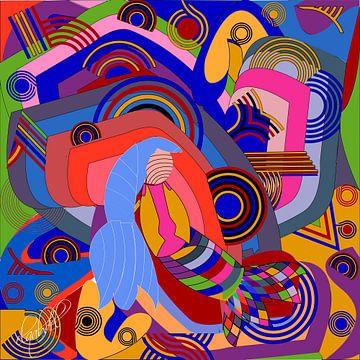 helle und beruhigende Farben und geometrische Formen als Wanddekoration Kunst von EL QOCH
