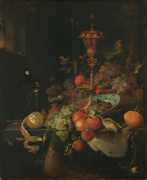 Stilleven met vruchten en bokaal op hanenpoot, Abraham Mignon