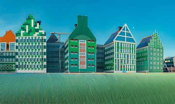 Moderne architectuur van het gemeentehuis in Zaandam, Zaanstad, Noord-Holland, Nederland van Rene van der Meer