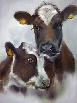 Schilderij Koeien Cosy II van Alies werk