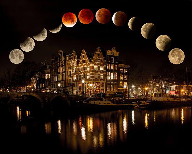 Mondfinsternis Blut Mond Mond Supermond Amsterdam von Marianne Jonkman