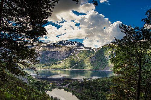 De stuwdam van Ringedalsvannet in Noorwegen