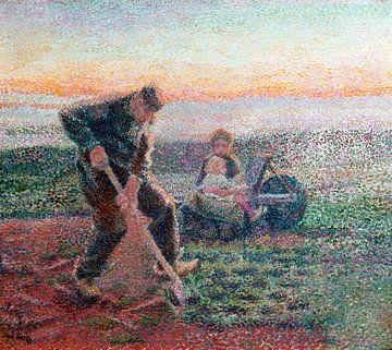 Grabender Bauer mit Frau und Kind auf Schubkarre, Jan Toorop, 1888 von Atelier Liesjes