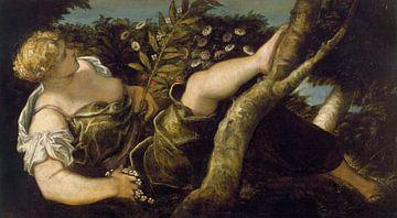 Tintoretto, Allegorische figuur van de lente - 1555 van Atelier Liesjes