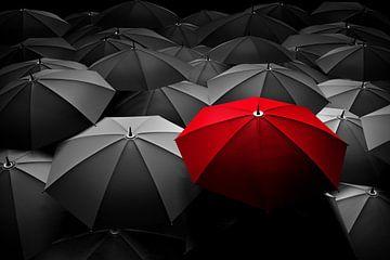 Ein roter Regenschirme unter vielen schwarzen Regenschirmen von Herbert Blum