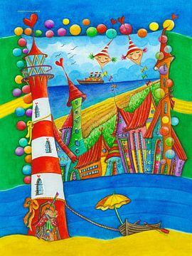 Leuchtturm Stadt von Atelier BuntePunkt