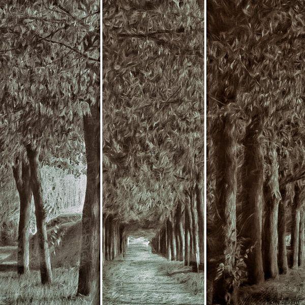 triptique de l'avenue des arbres van Yvonne Blokland