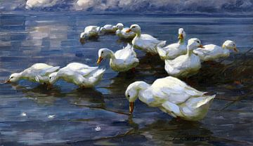 Enten am Seeufer, ALEXANDER KOESTER, Um 1909-1913 von Atelier Liesjes