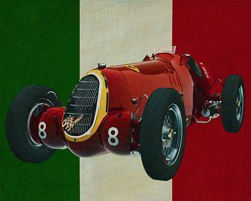 Alfa Romeo 8c uit 1935 met de Italiaanse vlag