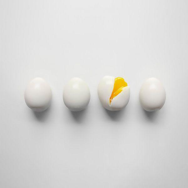 4 Eieren, 1 Gebarsten van M DH
