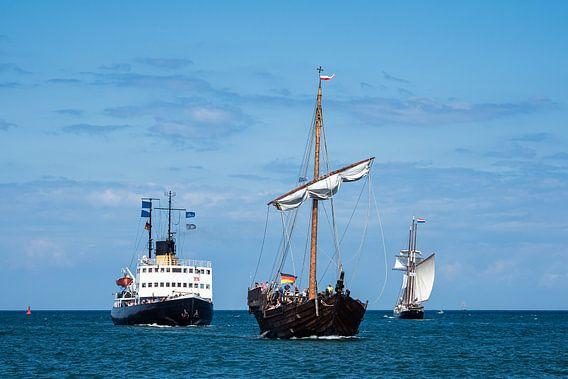 Zeilschepen op de Hanzezezezeilboot in Rostock