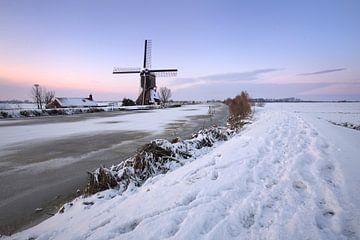 Poldermolen in de winter von Mark Leeman