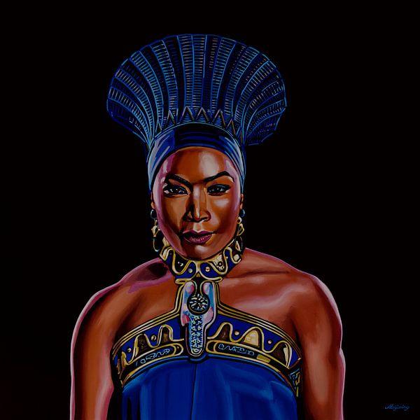 Angela Bassett als Qeen Ramonda in Black Panther Schilderij van Paul Meijering