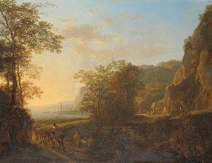 Italienische Landschaft mit Blick auf einen Hafen, Jan Both, 1640 - 1652.