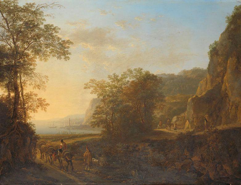 Italienische Landschaft mit Blick auf einen Hafen, Jan Both, 1640 - 1652. von Marieke de Koning